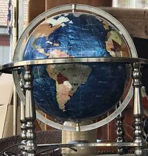 "Inlaid Blue Lapis Multi Color Gemstone Rotating Spinning Globe Compass Vtg 12"""