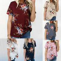 Women Chiffon Floral T-shirt Top Short Sleeve Casual Loose Blouse Pullover S-3XL