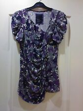 DEBENHAMS BETTY JACKSON BLACK, PURPLE/GREY RUFFLE FRONT TOP, SIZE 10