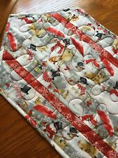 Handcrafted-Quilted Table Runner - Snowmen, Snowflakes & Wildlife -Red/White/Gra