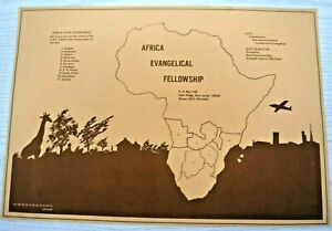 Paper Placemat Africa Evangelical Fellowship Geography Map Scenic Brown Peach