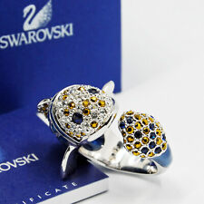 Swarovski originale anello donna cristallo pesce blu original ring 55 lazy fish
