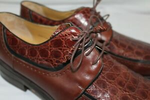 MEZLAN 14 M Made in Spain MUGELLO Crocodile & Leather Brown Oxford Dress Shoes