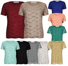 Womens Short Sleeve Floral Lace Sequin Party Tops 12-26
