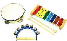 Kleines Kinder-Percussion-Set, Kinder Instrumente, 3-teilig aus Holz