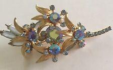 Vintage Aurora Borealis Rhinestone  Leaf Look Brooch Estate Jewelry Mid Century
