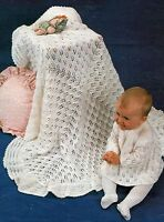"Baby's Shawl and Angel Top Knitting Pattern 18"" chest 4ply  856"