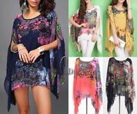 AU SELLER Oversize Chiffon Kaftan Loose Top Blouse Shirt/Beach Cover Up T087
