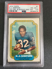 1974 Topps O.J. Simpson #1 100 Years Error PSA 4.5 VG-EX+ Buffalo Bills HOF