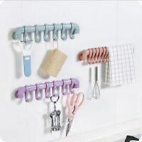 6 Hook Towel Rack Hanger Strong Suction Cup Holder Bathroom Kitchen Storage Tool