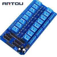 16 Channel 24v Relay Module Board With Optocoupler Power Supply Arm