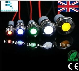 Round LED Stainless Steel Waterproof 6mm 8mm 10mm 12mm 14mm 5V 12V 24V 220V Red