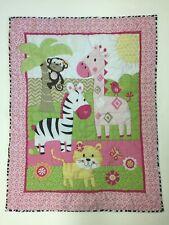 """Vintage Garanimals Baby Quilt 33"""" X 40.5"""" Monkey Giraffe Zebra Tiger Butterfly"""