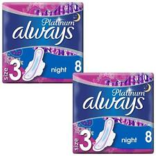 Always Platinum Ultra Night Sanitary Pads Towels with Wings - Size 3 - 16 Pack