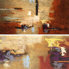 """36W""""x18H"""" MONTAGE by NANCY VILLARREAL SANTOS ABSTRACT COLORS BEIGE RED CANVAS"""