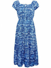 New Arista Blue and White UK12-20 Ladies Printed Tie Neck 3 Tiered Maxi Dress
