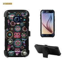 Galaxy S7 Case,Hybrid Rugged Case W/Built in Kickstand&Holster-Owl Design