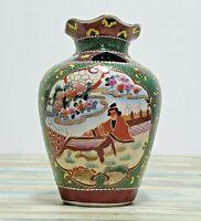 Hand Painted Vase - Asian Japanese Art - Large Decorative Vase - Glazed - Floral