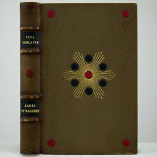 1921 LOUIS GILBERT ART DECO LEATHER SIGNED-BINDING PAUL VERLAINE POCHOIR 1ST ED.