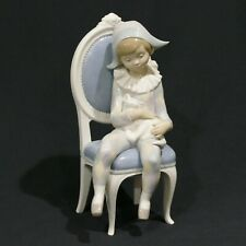 "Lladro 10½"" Figurine No.1229 Young Harlequin Jester Clown on Chair w/ Cat ~ Gc"