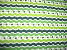 St Patricks Day Green Rick Rack Shamrocks White Cotton Quilt Fabric BTY