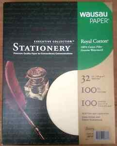 Royal 100% Cotton Ivory Resume Stationery Paper - 8.5 x 11-32# 100 Sheet/Box