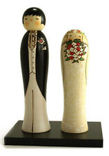 "Japanese KOKESHI Wooden Dolls 9-1/4""H Bride & Groom Wedding Gift (Made in Japan)"