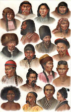 INDIGENOUS ASIAN PEOPLE TRIBES - 1885 vintage original Chromolithograph