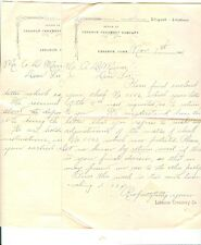 Lot Of 2 Correspondence Letters from LEBANON (CT) CREAMERY CO.To A.D.Miner 1908