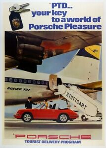 Porsche Tourist Delivery 1967  Factory poster ~ original &  linen mounted
