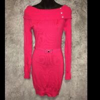 NWT Candies Red Knit Tunic Off-Shoulder Sweater Dress Matching Belt MSRP $48 - S