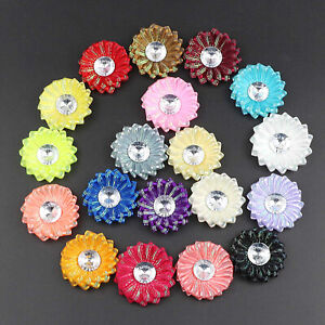 10-20Pcs DIY Satin Ribbon Flowers Crystal Bead Appliques/Craft/Wedding Decor