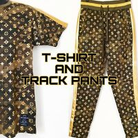 HOT! FOIL  TOP T-SHIRT AND FOIL TRACK PANTS HIGH BRAND STYLE NEW FASHION TREND