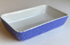 Valentina Blue Baking Dish 7.5 x 4.5 x1.5 Rectangle Vintage Italy Scalloped Edge