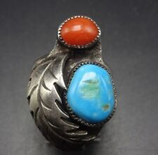 CLASSIC Vintage NAVAJO Sterling Silver TURQUOISE CORAL RING size 7.5, Wide Band