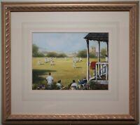 Original Watercolour Painting Art VILLAGE CRICKET MATCH by Artist GORDON LEES