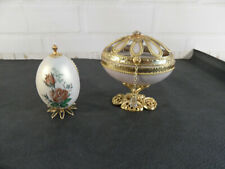 Vintage Hand Decorated Filigree Goose Egg + 1 other