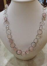 collana  argento con   quarzo rosa
