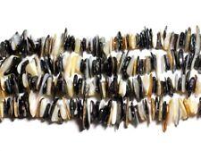 Fil 89cm 400pc env - Perles Nacre blanche et noire - Rocailles Chips Palets 8-20