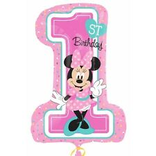 "Minnie Mouse 28"" Amscan Super Shape Original Balloon 1st Birthday Disney First"