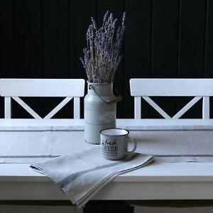 Leinen Tischläufer - Läufer aus Leinen - Grau Gestreift - 47 x 150 cm