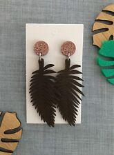 Leaf Dangle Earrings, Glitter Acrylic & Brown Wood, Light, Surgical Steel Stud