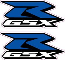 2 x GSXR Suzuki Motorcycle Stickers-Blue 'R'-Decals Quality Printed Vinyl Label
