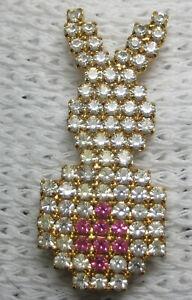 DOROTHY BAUER Easter Rabbit #4 sillohuette pin Swarovski Crystal & pink g