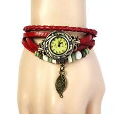 Retro Womens Girls Weave Bracelet Leather Band Quartz Wrist Watch With Leaf Bead