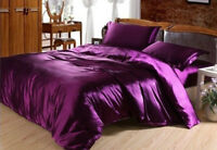 4pc. Luxury Silk Solid Purple Full Queen King High Quality Duvet Cover Bed Set