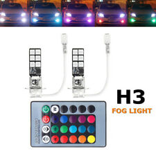 2x H3 5050 RGB LED 12SMD Auto Car Headlight Fog Light Lamp Bulb + Remote Control