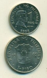 2 DIFFERENT 1 PISO COINS from the PHILIPPINES - BOTH DATING 1998 (2 TYPES)