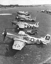 WWII Photo P-51 Mustang and P-47 Thunderbolt Fighters Lined Up   WW2 / 5132