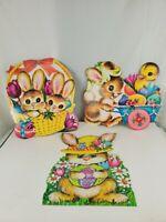 """3 Vintage Easter Die Cut BUNNY CHICK BASKET 15"""" Cardboard Decoration Dennison ?"""